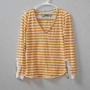 Anthropologie Little Yellow Button Stripe Cuff Tee